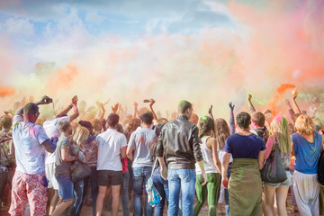 Celebrants at the color Holi Festival