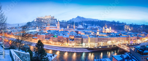 Salzburg winter panorama at christmas time, Austria