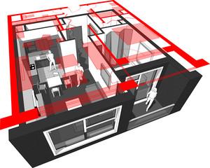 cut-away diagram of a 1-bedroom apartment