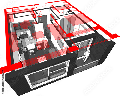 cut-away diagram of a 1-bedroom apartment