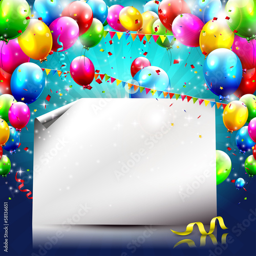 Colorful birthday background with balloons and empty paper