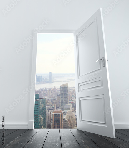 open door to city