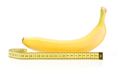 Yellow Banana with Measuring Tape Isolated on White Background