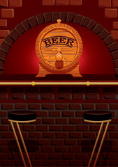 bar counter and cask of beer
