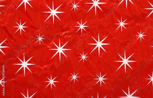 Christmas Wrapping Paper of white stars on red