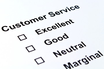customer service evaluation isolated over white background