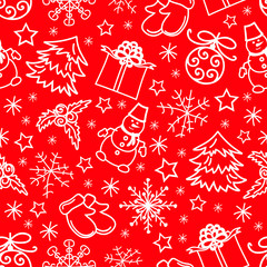 Christmas seamless pattern abstract red background