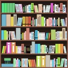 Bücherregal - bunte Bücher in einer Bibliothek