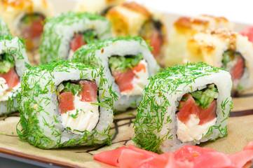 Appetizing tasty Japan rolls close-up. horizontal photo.