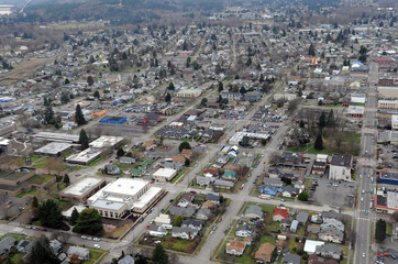 The gridded streets of old Centralia, Washington