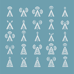 Radio tower or wireless tower symbols vector