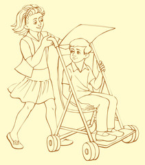 Vector illustration. The girl rolls in a wheelchair sick boy