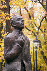 Monument to poet Osip Mandelstam in Voronezh fall