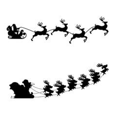 Schlitten Rentier Weihnachten Silhouette Vektor Set