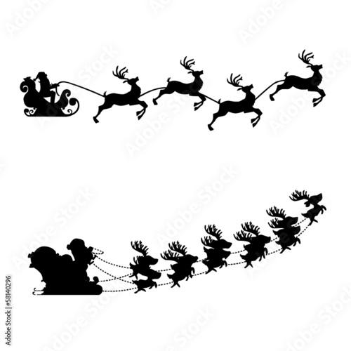 schlitten rentier weihnachten silhouette vektor set. Black Bedroom Furniture Sets. Home Design Ideas