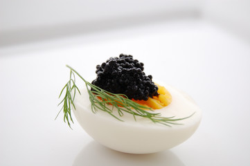 egg with caviar and dill