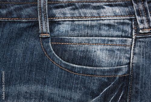 close up  fancy washed blue jeans pocket