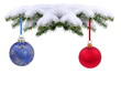 Christmas evergreen spruce tree with glass ball on snow