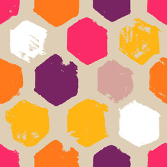 Hand-drawn hexagons seamless pattern