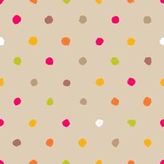 Hand-drawn polka dot seamless pattern