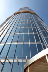 Angled view of a glass wall of a Burj khalifa