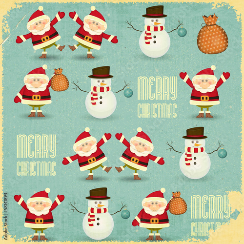 Santa Claus and Snowman Background