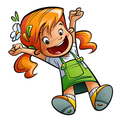 Happy cute cartoon girl jumping happily stretching hands and leg