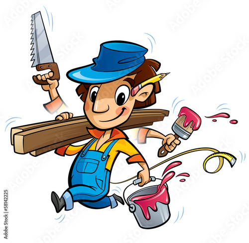 Busy cartoon carpenter character doing many things at same time
