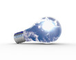 Illustration of an electric light bulb with clean and safe natur
