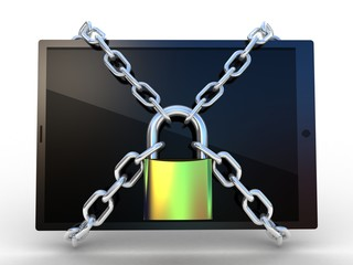 3d illustration of tablet computer locked with chains and padloc