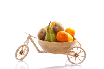 fresh fruit ride a tricycle wooden bike