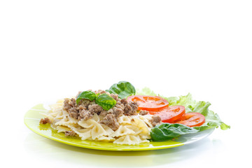 Cooked noodles with boiled meat