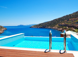 The sea view swimming pool at the luxury villa, Crete, Greece