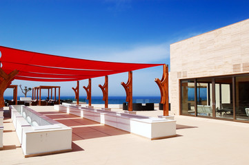Outdoor terrace at the modern luxury hotel, Crete, Greece