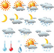 weather icons: sun rain clouds