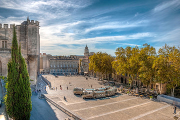 Square at Pope's palace, Avignon, HDR image