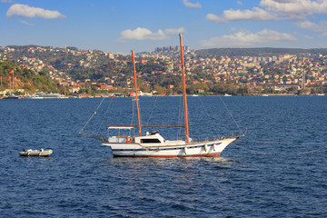 Traditional Turkish design, two masted wooden sailing boat