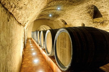 Old wine barrels,wine cellar