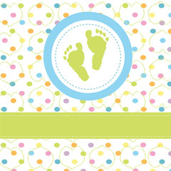 Baby Boy greeting card & footprints vector