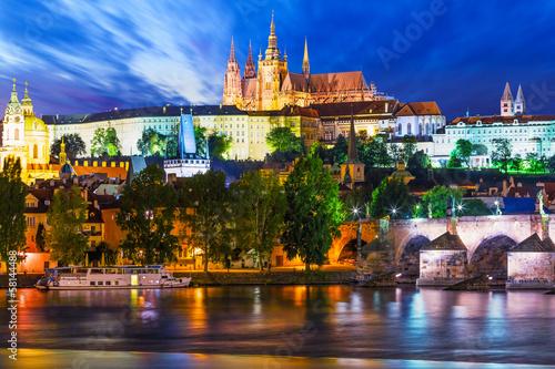 Fototapeta Night scenery of Prague, Czech Republic