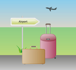 baggages and airport sign