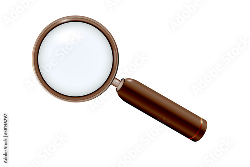 magnifying glass in elegant modern wooden style