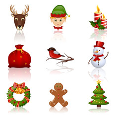 Colored Christmas and New Year icons. Vector illustration.