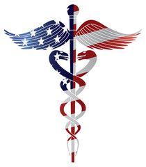 Caduceus Medical Symbol with USA Flag Illustration
