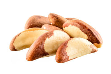 Brazil nut. Group of fruits on white background