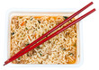 top view of cooked instant noodles