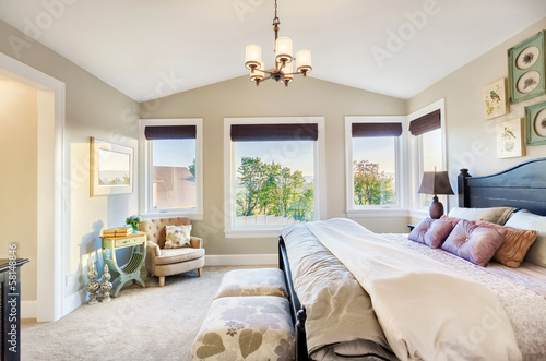 Master Bedroom with View in Luxury Home