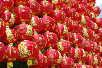 red chinese lantern wall