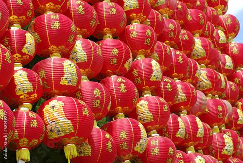 red chinese lantern wall