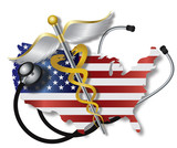 Stethoscope with USA Flag Map and Caduceus